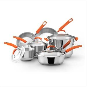 Rachel Ray 10pc Cookware Set - Stainless Steel