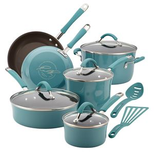 Rachel Ray 12-Pc Cucina Porcelain Aluminum Cookware Set (Agave Blue)