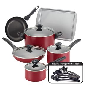 Farberware 15-Pc Dishwasher Safe Non-Stick Set - Red