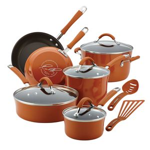 Rachel Ray 12-Pc Cucina Porcelain Aluminum Cookware Set (Pumpkin Orange)