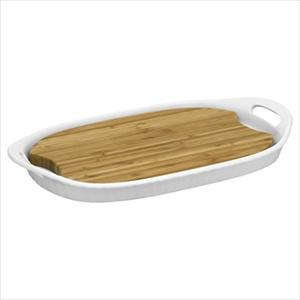 Corningware French White III Platter with Wood Insert