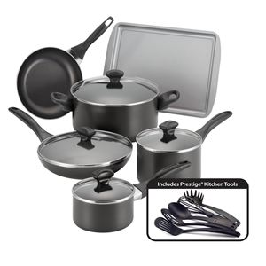 Farberware 15-Pc Dishwasher Safe Non-Stick Set - Black