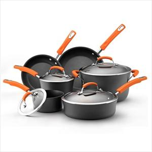 Rachel Ray 10pc Cookware Set - Hard Anodized (Orange)