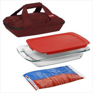 Pyrex Portables 4-Pc Set (Red Carrier)