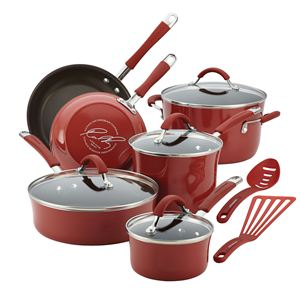 Rachel Ray 12-Pc Cucina Porcelain Aluminum Cookware Set (Cranberry Red)